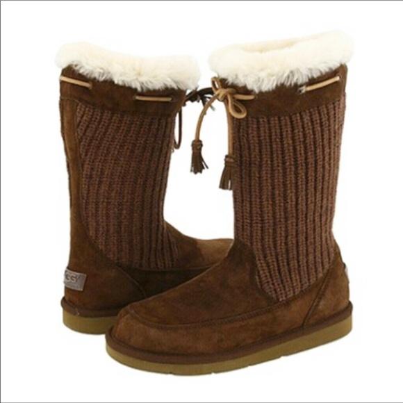 e95058a8e02 UGG Tall Boots Suburb Crochet Suede Sheepskin 5124